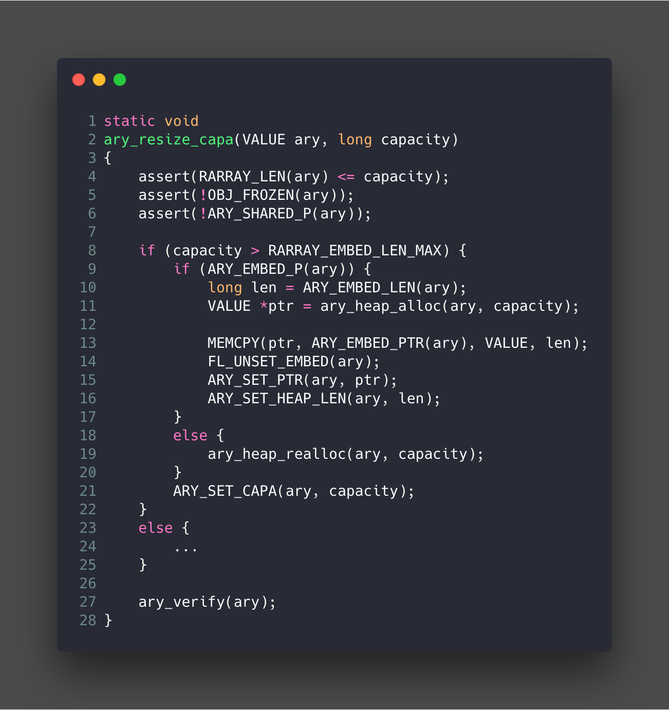 Array resize capa function in Source: https://github.com/ruby/ruby/blob/trunk/array.c