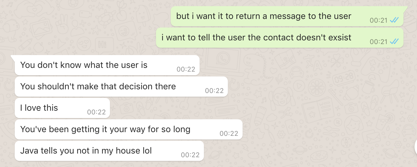 whatsapp conversation with friend telling me Java won't let me get away with what Ruby does